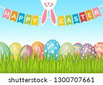easter background with eggs on... | Shutterstock .eps vector #1300707661