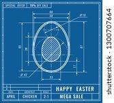 blueprints concept of easter... | Shutterstock .eps vector #1300707664