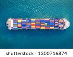 aerial view of container cargo... | Shutterstock . vector #1300716874