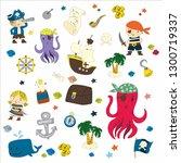 cartoon pirates whale parrot... | Shutterstock . vector #1300719337