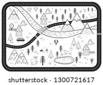 black and white kids road play...   Shutterstock .eps vector #1300721617