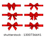 red  gift  bows set  isolated... | Shutterstock .eps vector #1300736641