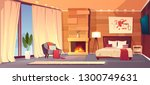 vector cartoon interior of cozy ... | Shutterstock .eps vector #1300749631