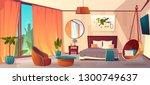 vector cartoon interior of cozy ... | Shutterstock .eps vector #1300749637