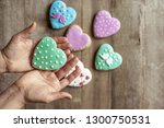 closeup of heart cookies in...   Shutterstock . vector #1300750531