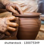 potter hands making in clay on... | Shutterstock . vector #130075349