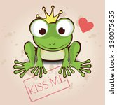 love card with cute little frog | Shutterstock .eps vector #130075655