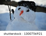 sad snowman holding smart phone ... | Shutterstock . vector #1300756921
