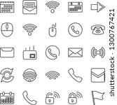 thin line icon set   phone... | Shutterstock .eps vector #1300767421