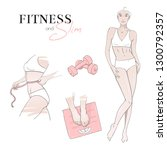 sport  fitness and diet concept.... | Shutterstock .eps vector #1300792357
