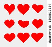 set of vector heart icons.... | Shutterstock .eps vector #1300813834