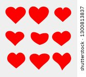 set of vector heart icons.... | Shutterstock .eps vector #1300813837