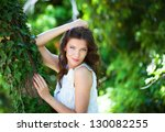 young woman in the forest | Shutterstock . vector #130082255