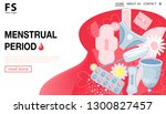 menstrual period. landing page... | Shutterstock .eps vector #1300827457
