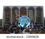 Small photo of David Blaine in the bubble at Lincoln Center