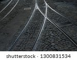 tram rails and hatchs on an old ...   Shutterstock . vector #1300831534