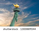 hand of statue of liberty with... | Shutterstock . vector #1300889044