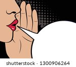 pop art gossip girl whispering  ... | Shutterstock .eps vector #1300906264