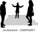 vector silhouette of family. | Shutterstock .eps vector #1300942897