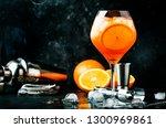 aperol spritz cocktail in big... | Shutterstock . vector #1300969861
