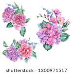 set of watercolor vintage... | Shutterstock . vector #1300971517