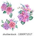 set of watercolor vintage... | Shutterstock . vector #1300971517