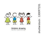 activo,chico,tarjeta,dibujos animados,niño,colorido,lindo,dibujo,cara,amistad,diversión,chica,saludo,grupo,manos