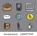 business icons over gray...