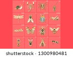 set of thin line multicolored...   Shutterstock .eps vector #1300980481