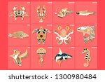 set of thin line multicolored... | Shutterstock .eps vector #1300980484