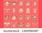 set of thin line multicolored... | Shutterstock .eps vector #1300980487