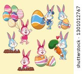 easter rabbits and eggs cartoons | Shutterstock .eps vector #1301012767