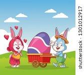 happy easter cartoon. easter... | Shutterstock .eps vector #1301012917