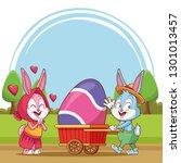 happy easter poster. easter... | Shutterstock .eps vector #1301013457