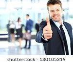 businessman showing ok sign... | Shutterstock . vector #130105319