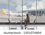 first class business passenger... | Shutterstock . vector #1301074804
