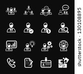 Management and Human Resource Icons with Black Background - stock vector
