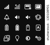 Icons for Mobile Phone with Black Background - stock vector