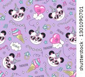 cute panda pattern on a lilac... | Shutterstock .eps vector #1301090701