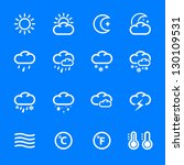 Weather Icons with Blue Background - stock vector