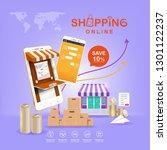 shopping online on website or... | Shutterstock .eps vector #1301122237