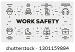 work safety line icon set   Shutterstock .eps vector #1301159884