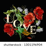 love slogan. embroidery... | Shutterstock .eps vector #1301196904