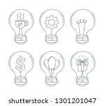 lightbulb icon set. hand draw... | Shutterstock .eps vector #1301201047