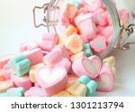 Heap of pastel color heart...