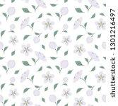cute floral vector seamless... | Shutterstock .eps vector #1301216497
