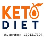 ketogenic diet logo with line... | Shutterstock .eps vector #1301217304
