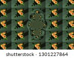 pattern with the image of... | Shutterstock . vector #1301227864