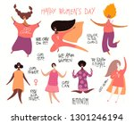 set of diverse women  quotes... | Shutterstock .eps vector #1301246194