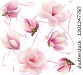 flowers and buds magnolia.... | Shutterstock .eps vector #1301247787